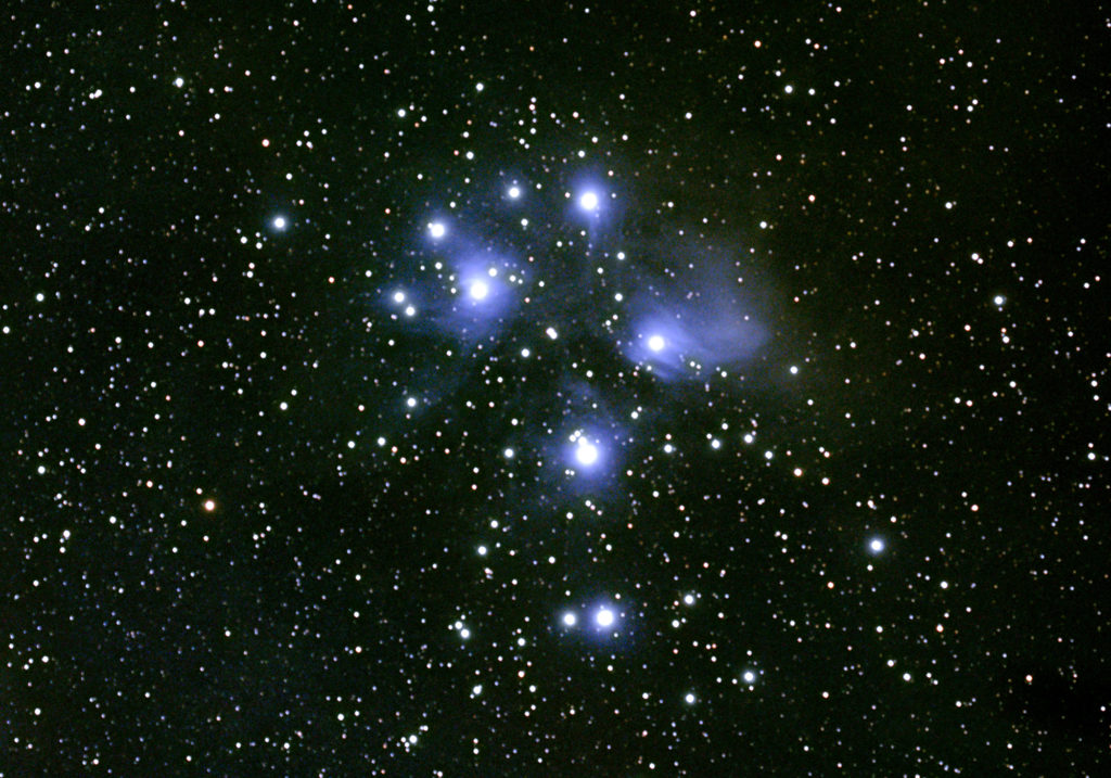 Open Cluster and Reflection Nebula Messier 45 the Pleiades