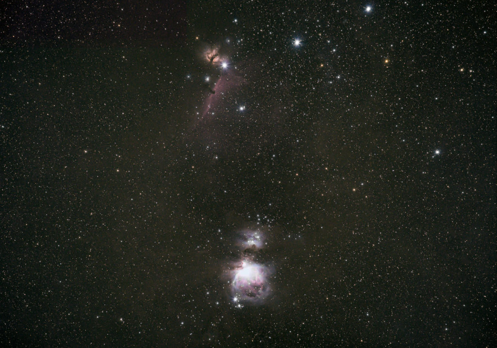 Orion Complex with Running Man, Orion, Flame and Horsehead Nebula