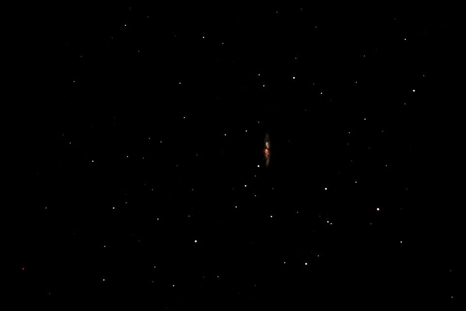My first attempts at Astrophotography of the Cigar Galaxy, Messier 82.