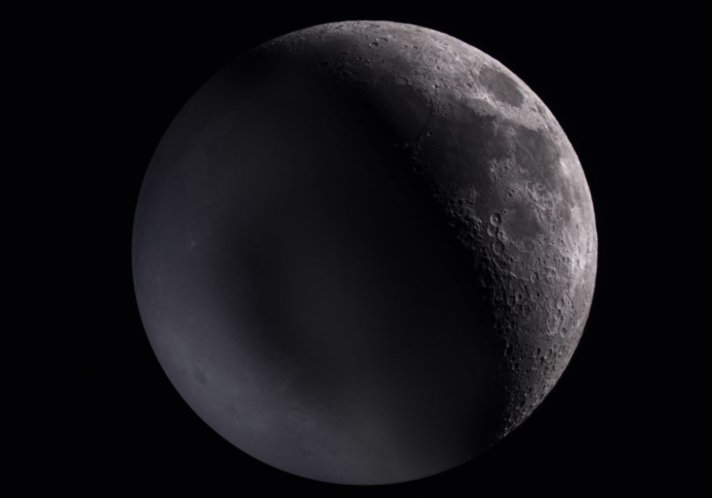 Earthshine on a crescent moon, taken April 28 2020