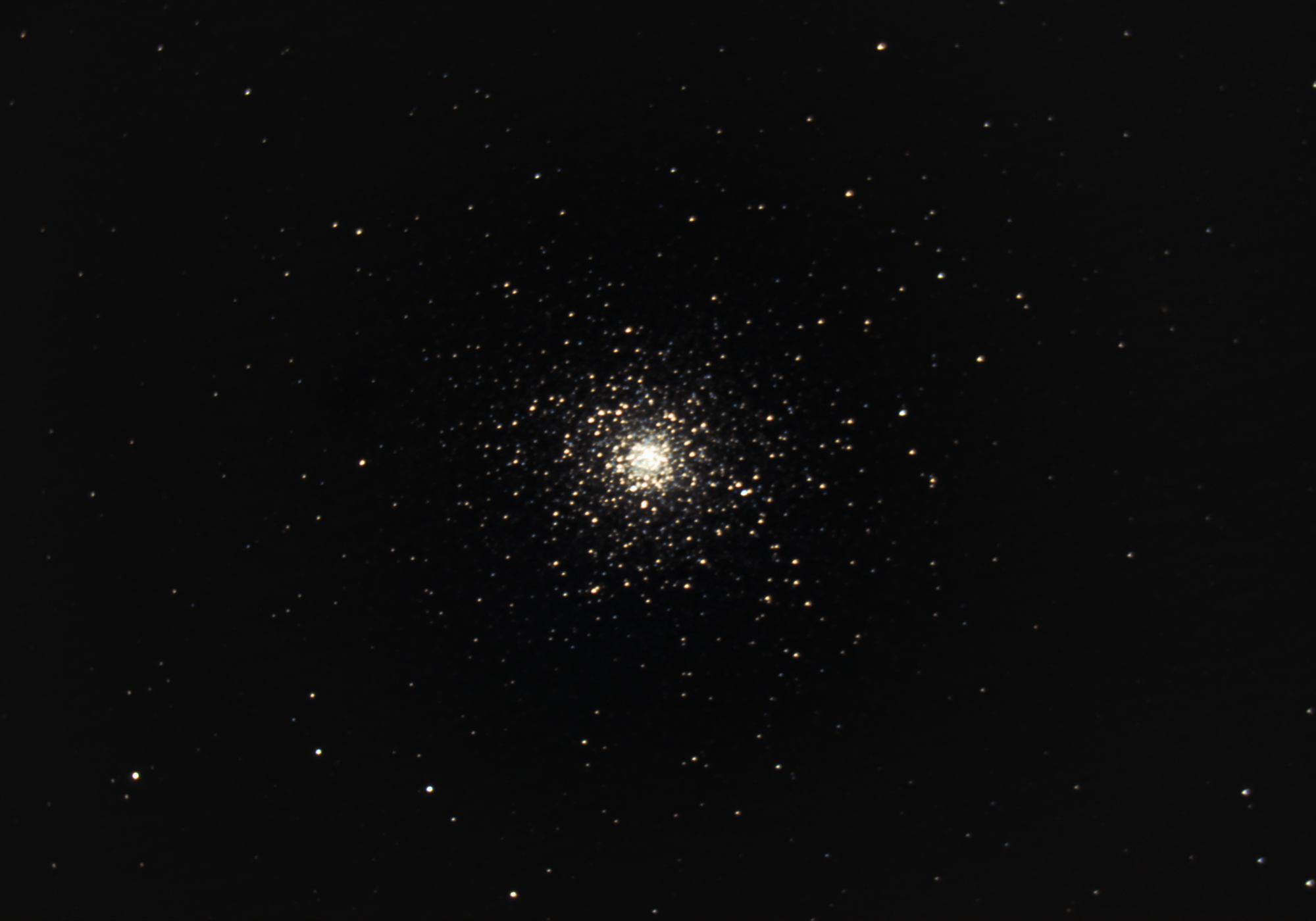Globular Clubster Messier 5, amateur astrophotography taken from a dark site with a full moon.