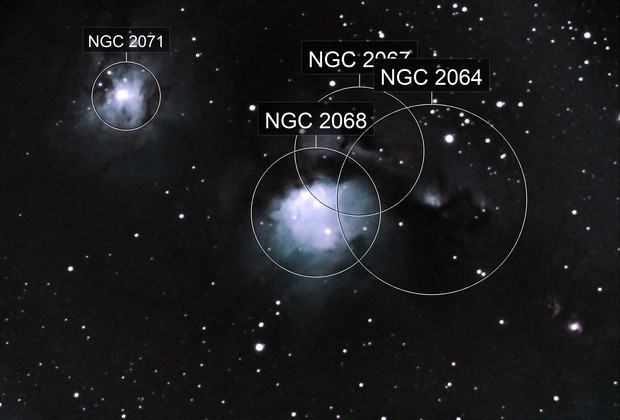 Various nebula identified from amateur astrophotography photo of Messier 78