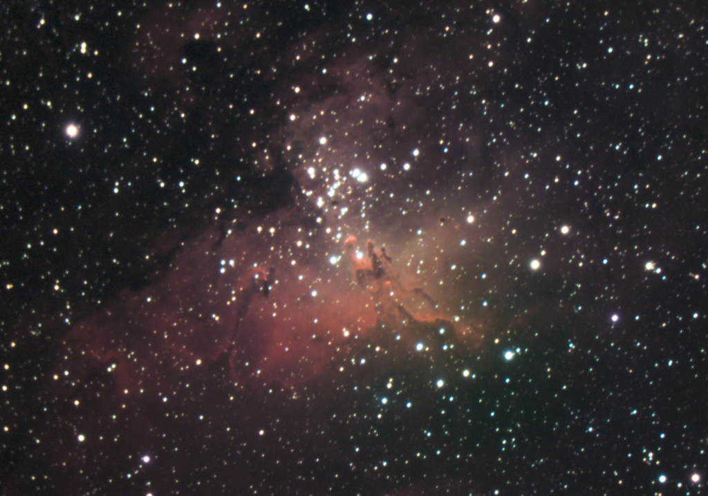 The Eagle Nebula, Messier 16, is part of the Milky Way and contains thousands of stars and the famous dust clouds the Pillars of Creation.   Taken by amateur astrophotographer July 17, 2020.