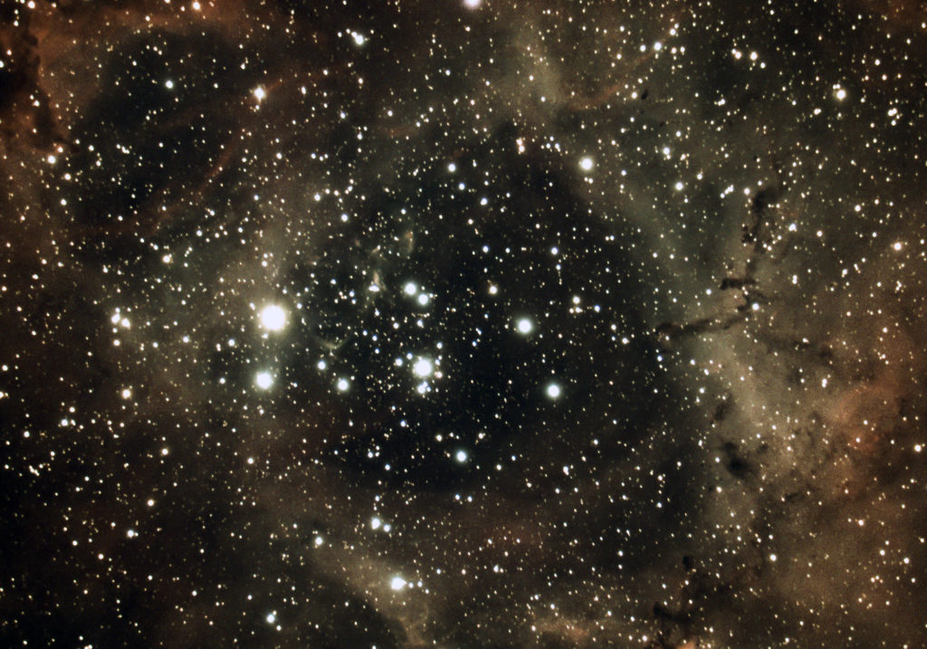 Core of the Rosette Nebula photographed in March 2020