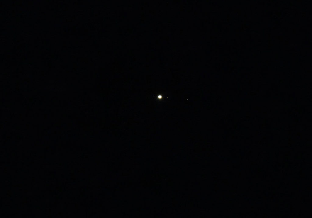 First attempt at Jupiter, showing several of its moons