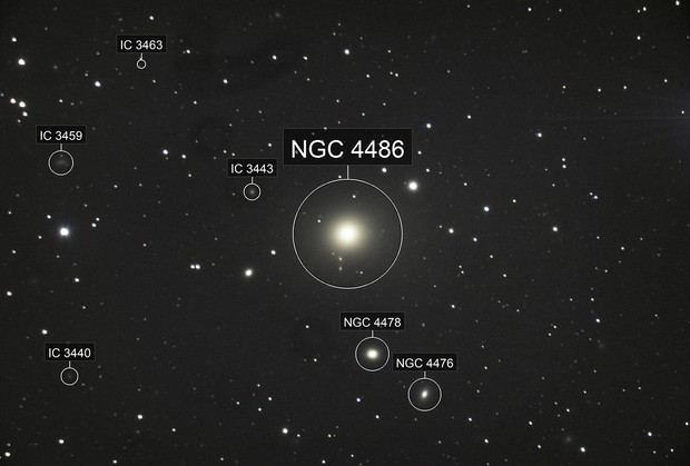 Messier 87/NGC 4486 and its neighbouring galaxies in the Virgo Cluster