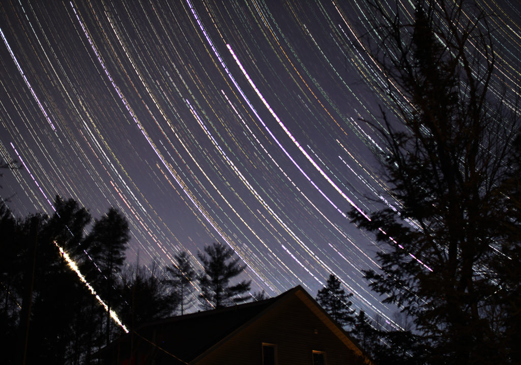 Star Trails across the western evening sky