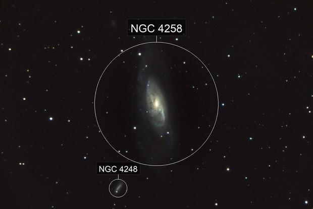Identification of 2 galaxies, NGC 4258 (M106) and its satellite galaxy NGC 4248.